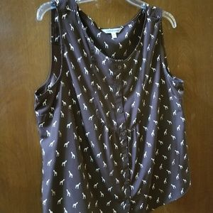 Brown giraffe sleeveless top